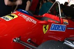 Imola, el 27 de abril de 2019: Detalle del modelo histórico 1984 del coche de Ferrari F1 126 C4 ex Michele Alboreto/René Arnoux  fotografía de archivo