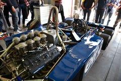 Imola, il 27 aprile 2019: Dettaglio di 1976 F1 storici Tyrrell P34 ex Ronnie Peterson guidato da Pierluigi Martini nella scatola fotografie stock