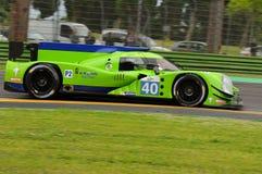 Imola Italien Maj 13, 2016: KROHN som SPRINGER USA Ligier JS P2 - Nissan som är drivande vid Bjorn Wirdheim SWE Nicla på ALMrunda Arkivbild