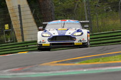 Imola, Italy May 13, 2016: Aston Martin V8 Vantage, driven by Andrew Howard GBR, Darren Turner GBR at ELMS Round of Imola 2016 Stock Photography