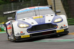 Imola, Italy May 13, 2016: Aston Martin V8 Vantage, driven by Andrew Howard GBR, Darren Turner GBR at ELMS Round of Imola 2016 Royalty Free Stock Photo