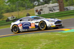 Imola, Italy May 13, 2016: Aston Martin V8 Vantage, driven by Andrew Howard GBR, Darren Turner GBR at ELMS Round of Imola 2016 Royalty Free Stock Photos