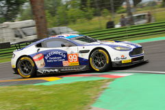 Imola, Italy May 13, 2016: Aston Martin V8 Vantage, driven by Andrew Howard GBR, Darren Turner GBR at ELMS Round of Imola 2016 Royalty Free Stock Images