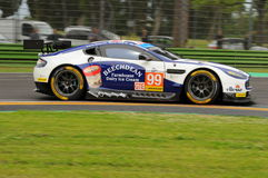 Imola, Italy May 13, 2016: Aston Martin V8 Vantage, driven by Andrew Howard GBR, Darren Turner GBR at ELMS Round of Imola 2016 Royalty Free Stock Image