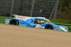Imola, Italy May 13, 2016:M.RACING - YMR FRA Ligier JS P3 - Nissan Thomas Laurent FRA Yann Ehrlacher at ELMS Round of Imola 2016 Royalty Free Stock Images