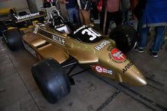 Imola, le 27 avril 2019 : F1 fl?ches historiques A3 1980 Jochen Mass ex dans la bo?te pendant le jour historique 2018 de Minardi  photo stock