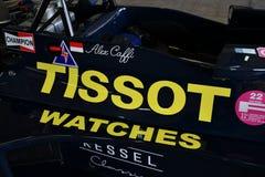 Imola, o 27 de abril de 2019: Detalhe 1976 F1 da bandeira hist?rica Ronnie Kessel ex conduzido por Alex Caffi na caixa durante Mi imagem de stock