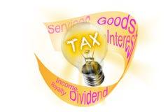 impôt Car une ampoule éclaire sa lumière, des impôts sont imposés aux biens et aux transactions de services, revenus d'entreprise photos stock