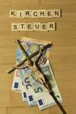 Impôt ecclésiastique de signe dans Kirchensteuer allemand images libres de droits
