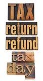 Impôt, renvoi et remboursement Photographie stock