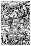 Imp with pot for sinful people and souls in hell. Hand drawn vector illustration. Engraved line art drawing, black and white doodle. See all fantasy collection Royalty Free Stock Photo