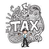 Impôt et griffonnage d'homme illustration de vecteur