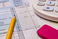 Impôts de classement et feuilles d'impôt  Photo stock