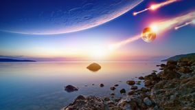 Impact. Abstract fantastic background - blue sunrise sky, smooth serene sea, alien planet in space, asteroid impact. Elements of this image furnished by NASA royalty free stock image