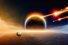Impact. Abstract scientific background - asteroid impact planet Earth. Elements of this image furnished by NASA stock photos