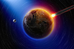 Impact. Abstract scientific background - asteroid impact planet earth, moon in space. Elements of this image furnished by NASA Royalty Free Stock Photos