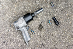 Impact air wrench and bolts Stock Photography