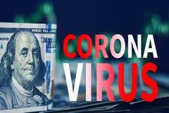Impact of coronavirus COVID-19 on global economy, financial crisis. USD dollar bills with market price charts and inscription