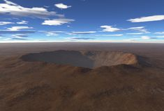 Impact Crater. Digital render of an impact crater in an empty desert landscape royalty free illustration