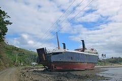 Impact de cyclone tropical Winston avec le vent violent de la catégorie 5 aux Fidji Photos libres de droits