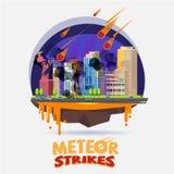 Impact de météore la ville concept de catastrophe - vecteur Photos stock