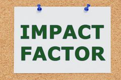 Impact Factor concept. 3D illustration of IMPACT FACTOR on cork board Stock Photo
