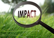 Impact. Magnifying glass with the word impact on grass background. Selective focus royalty free stock photo