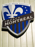 Impact soccer club. With a pristine, natural grass field, a prime location in Olympic Park and easy access by subway or car, Stade Saputo home of the Montreal stock photo