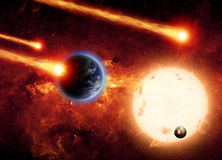 Impact from space. Abstract scientific background - asteroid impact planet earth, big sun, small exploding planet, red galaxy. Elements of this image furnished royalty free stock photo