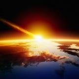 Impacto asteroide Imagen de archivo libre de regalías