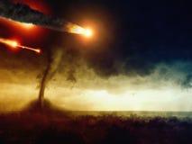 Impacto asteroide y tornado enorme Imagen de archivo