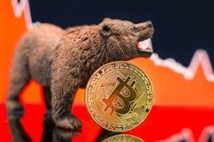 Impacto cripto do preço bearish de Bitcoin imagens de stock