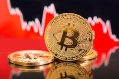 Impacto cripto do preço bearish de Bitcoin fotos de stock royalty free