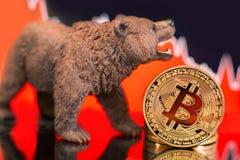 Impacto cripto do preço bearish de Bitcoin foto de stock