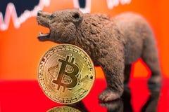 Impacto cripto do preço bearish de Bitcoin fotos de stock