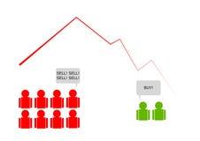 Impacto de mercado de valores de ação com venda do pânico Fotos de Stock Royalty Free