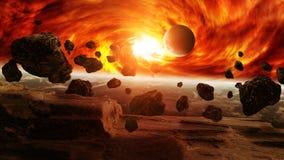 Impacto del meteorito en la tierra del planeta en espacio Imagen de archivo libre de regalías