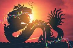 Impacto do gráfico do mercado de valores de ação de China para baixo ilustração stock