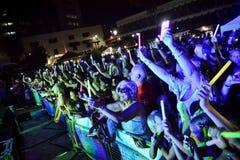 Impacto dos concorrentes do X-fator o 4o executou nas noites de verão anuais de Gibraltar Imagens de Stock Royalty Free