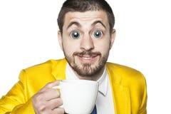Impacto fuerte del cafeína, hombre de negocios listo para la acción Fotografía de archivo