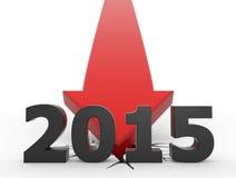 2015 - impacto vermelho da seta ilustração stock