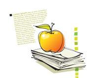 Impaginazione con l'icona della mela, illustrazione di disegno a mano libera Immagini Stock