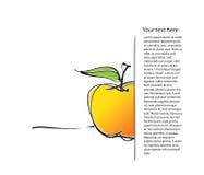 Impaginazione con l'icona della mela, illustrazione di disegno a mano libera Fotografie Stock Libere da Diritti