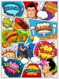 Impaginazione del libro di fumetti Modello dei fumetti Retro modello del fondo Diviso dalle linee con i fumetti, città, razzo, su illustrazione vettoriale