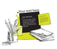 Impaginazione, matite, documenti illustrazione di stock