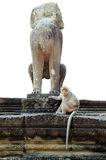 Monkey statue in Angkor with marmoset Stock Image