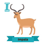 Impala. I letter. Cute children animal alphabet in vector. Funny. Cartoon animals. Vector illustration Stock Photo