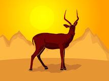 Impala on a stylized mountain background. Vector illustration - eps available Royalty Free Stock Photos