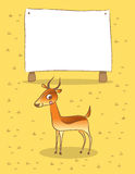 Impala. Wild animals savanna vector illustration. Giraffe with placard, space for text insertion. Hand drawn doodle sketch style illustration Stock Photos