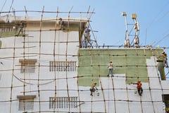 impalcatura di legno dei decoratori indiani Fotografia Stock